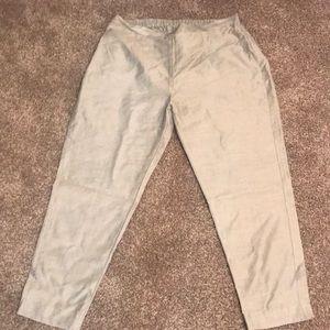Silver Gray Elastic Pant Silk like sz Large New